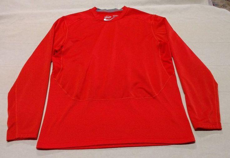 Mens NIKE Pro Combat Hyperwarm Shield Dri-Fit Fitted L/S Shirt Sz XL Orange EUC #Nike #BaseLayers