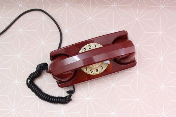 Vintage Italian Red Princess phone, Retro Rotary phone
