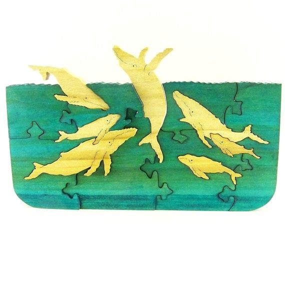 Whale Family at Play Wood Puzzle Tableau by rjawoodworking on Etsy
