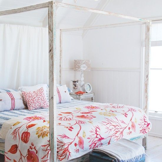 White and blue bedroom scheme with coral throw | Coastal colour schemes Housetohome