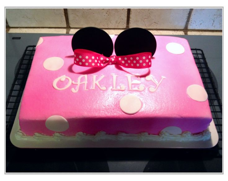 Pink Minnie Mouse Sheet Cake Birthday Party Ideas