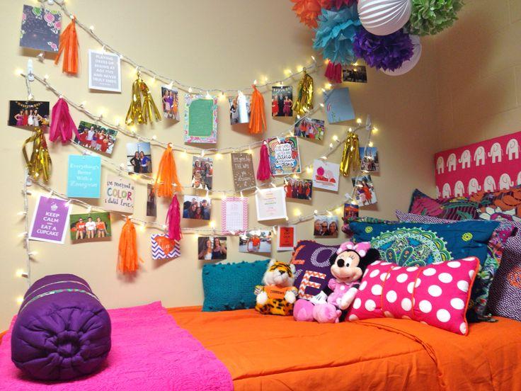 dorm room bed, headboard, and string lights *Baylor Bound* Pinterest