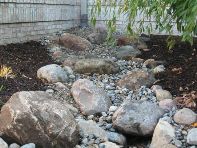 Another dry creek bed. This would work great in the low area under the trees with a bridge