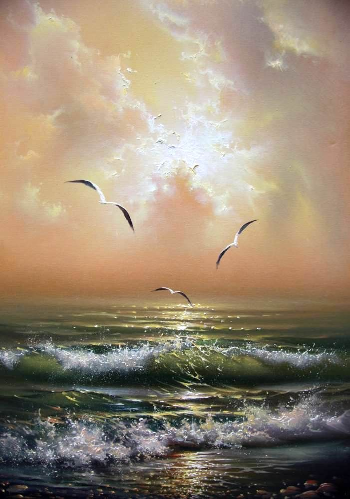 Seagulls • artist: Yuri Vershinin ocean waves rolling, morning sunlight breaking through pastel clouds