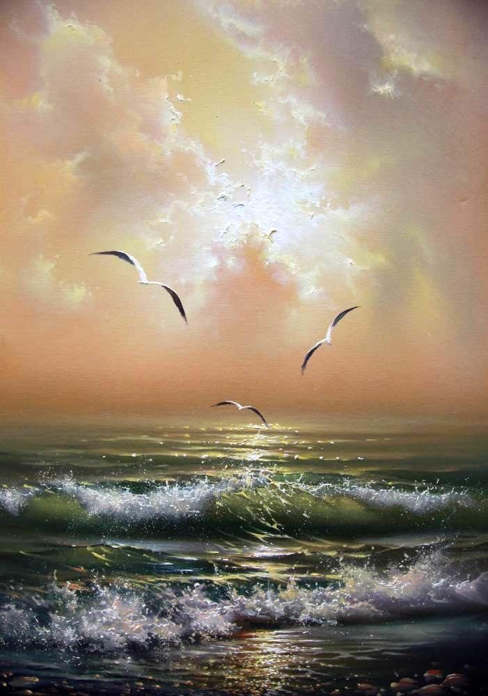Seagulls • artist: Yuri Vershinin ocean waves rolling, morning sunlight breaking through pastel clouds