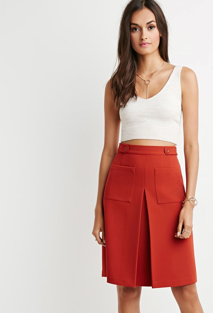 Inverted Front-Pleat A-Line Skirt |