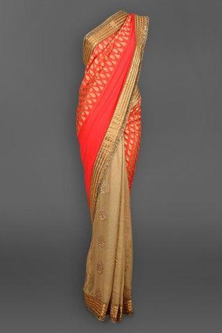 Peach & Antique Gold Georgette Sari