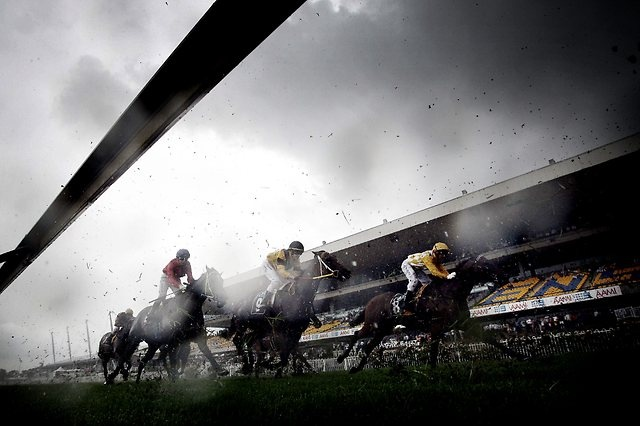 Soaked ... A very wet and gloomy Rosehill Gardens Racecourse in Sydney
