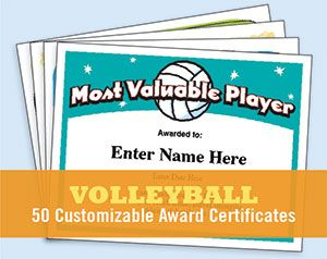 Volleyball certificates for players, coaches and team parents. Create your own custom award from these template printables. Professionally designed.