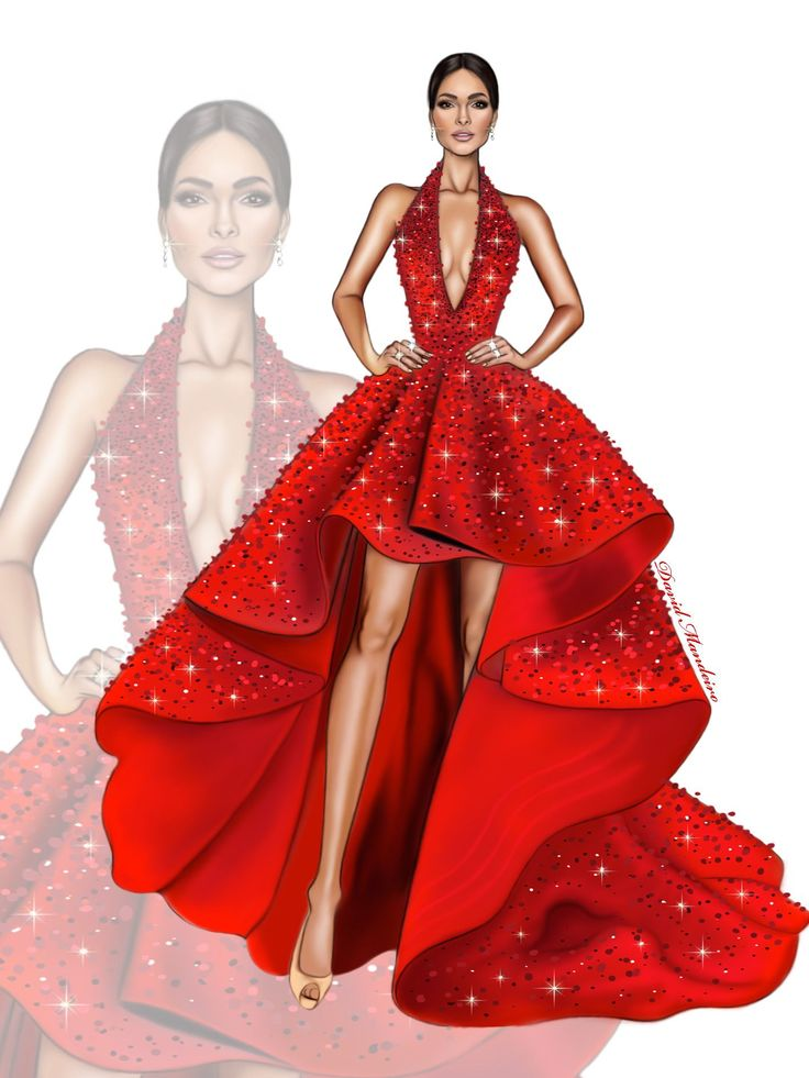 The beautiful ❤️Alejandra Espinoza ❤️in Michael Cinco #digitaldrawing by @David Mandeiro Illustrations @Wacom