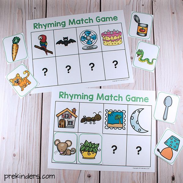 Rhyming Match Games (from Pre-K Pages)