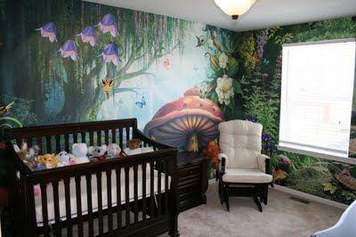 Mural fotográfico de un bosque encantado, mobiliario oscuro • Custom Wallpaper...O.M.G....i want this room for my future baby