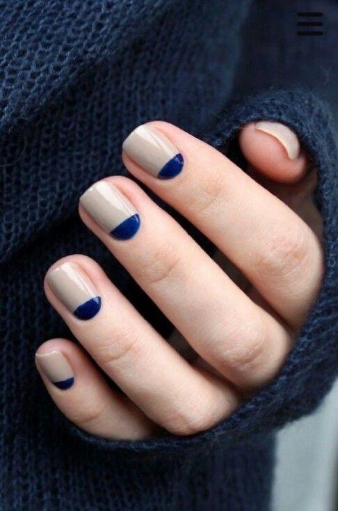 Navy blue halfmoon manicure