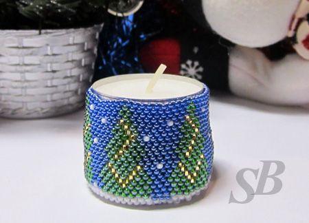 Готовим подарки к Новому году. Подсвечник. | biser.info - всё о бисере и бисерном творчестве