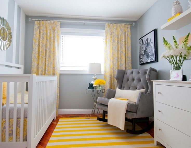 Sweet and Lovely Grey Baby Nursery Room Decorations: Charming Grey Baby Nursery Decoration with Grey Tufted Backrest Rocking Chair and Grey Wall Painting also White Dresser and Yellow White Striped Rug – Ewehome Interior Design Ideas and Furniture