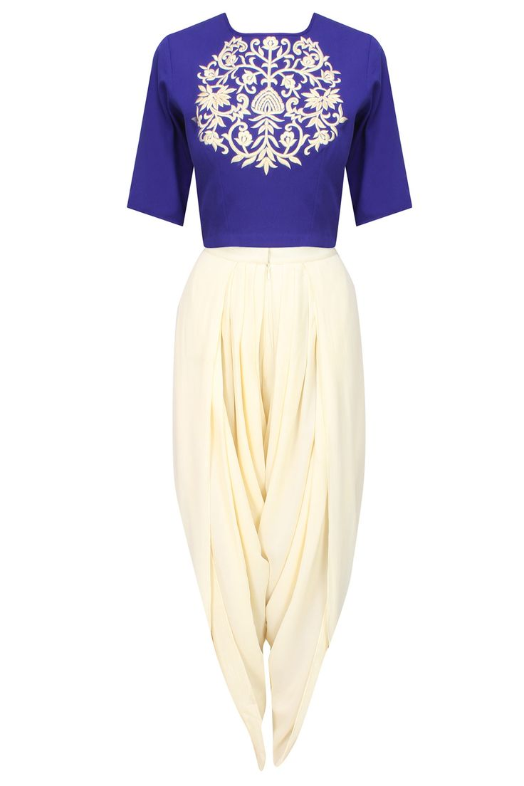 Ridhi Arora presents Royal blue embroidered crop top and ivory dhoti pants set available only at Pernia's Pop Up Shop.