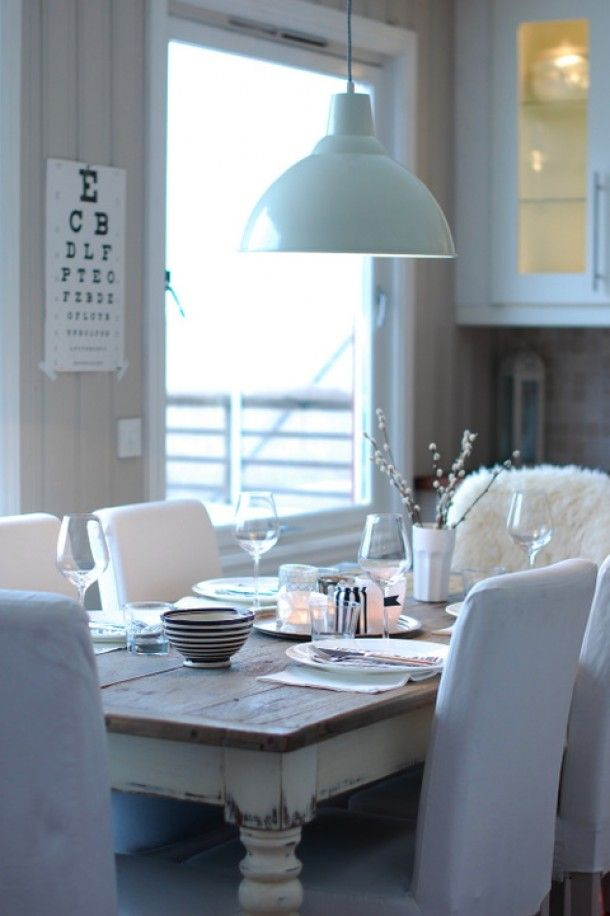 Different chaird, but live the distressed white table