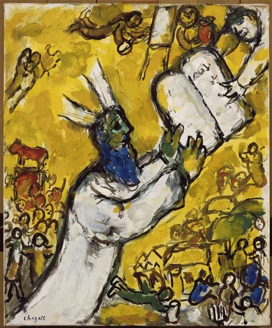 Moses receiving the tablets, by Marc Chagall