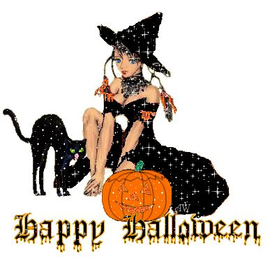 glitter cat and witch say happy halloween - Pictures That Say Happy Halloween