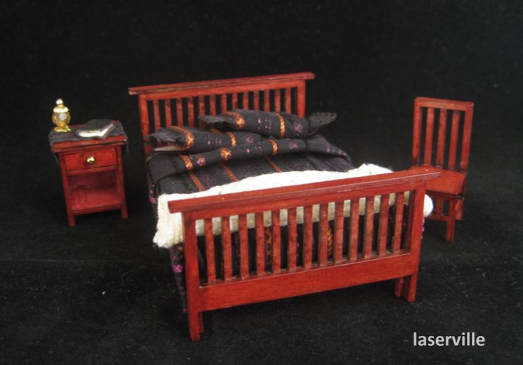 Bedroom 1:24 scale.DIY kit made of cardstock. Made by Laserville. www.melissasminiwereld.nl