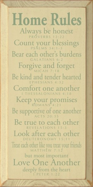 Home Rules - Always be honest - Proverbs 12:22. Count your blessings - Psalms 34:1-3. Bear each other's burdens - Galatians 6:2. Forgive and forget - Micah 7:18. Be kind and tender hearted - Ephesians 4:32. Comfort one another - 1 Thessalonians 4:18.: Quote, Be Kind, 1 Thessalonians, House Rules, Bible Verses, The Bible, The Rules, Families Rules, Family Rules