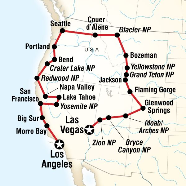 Map of the route for Vegas to Los Angeles Road Trip