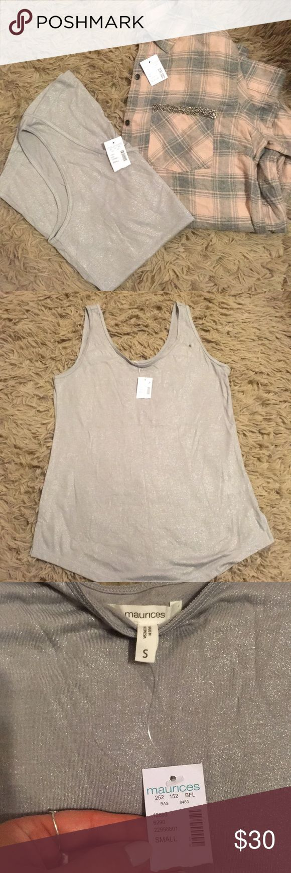 Maurice's Silver Cami & Baby Pink/Grey Plaid NWT Maurice's silver tank top and baby pink/grey plaid with glitter pocket, tank is size small- plaid is super soft flannel and a size medium! Maurices Tops Button Down Shirts
