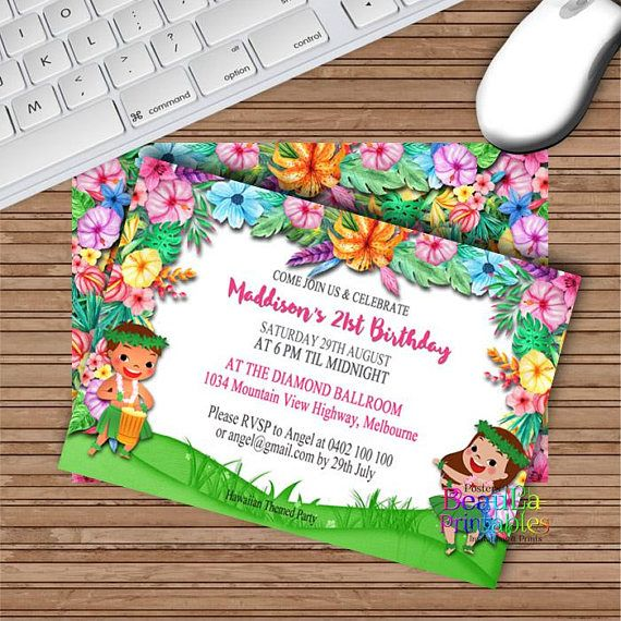 Party Invitations Hawaiian Invitation Luau Invitation