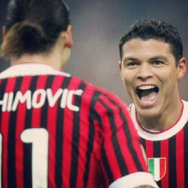 Thiago Silva and Ibrahimovic AC Milan