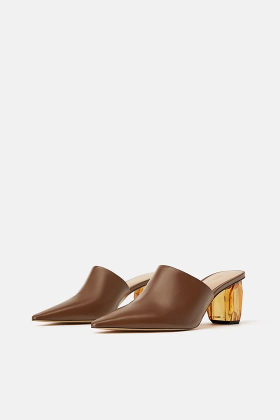 18e782a0e0d ZARA - WOMAN - LEATHER MULES WITH GEOMETRIC HEELS