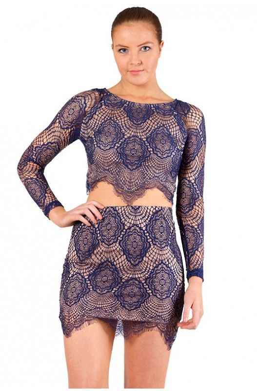 Midnight Web Lace Skirt- Match it with our Midnight Web Top to make the perfect matching set!! Shop Now A$39.95.