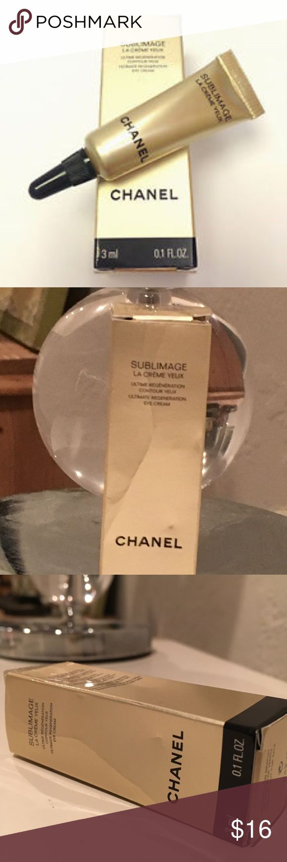 Chanel Sublimage La Creme Yeux 3ml .1oz Nib Chanel Sublimage La Creme Yeux Regenerating Eye Cream 3ml .1oz Travel Size This is a great size to travel with ; or if you're not wanting to spend $300-$400 CHANEL Makeup