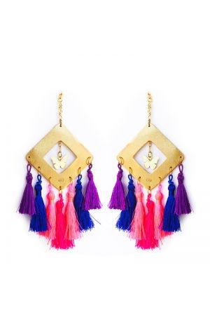 Aretes Rombo borlas azul y neones Alejandra VALDIVIESO Maxi Earrings