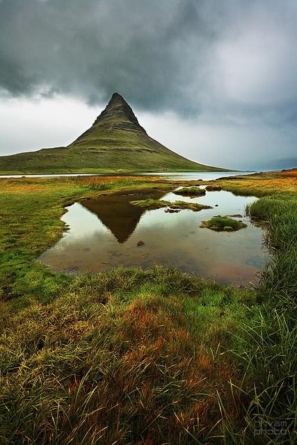 Mt. Kirkjufell, Church mountain, in Grundarfjörður, Snæfellsnes, W-Iceland.