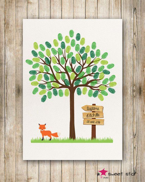 tree prints for baptism birthday kids arbre a empreinte anniversaire nature et cadeaux