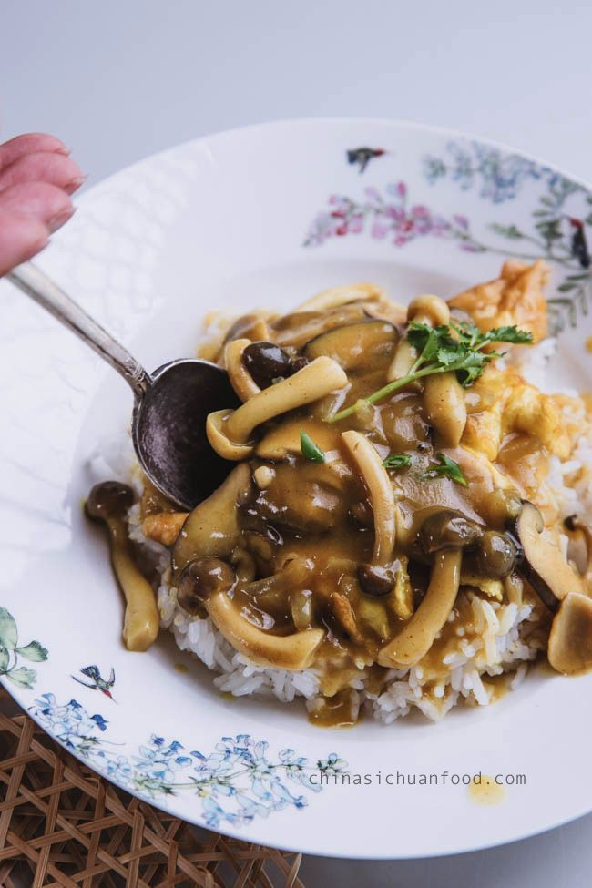 Easy Mushroom Curry Over Rice Recipe Mushroom Curry Stuffed Mushrooms Healthy Chicken Recipes