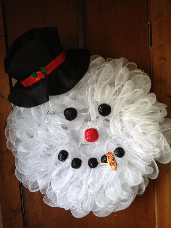 Deco Mesh Snowman Wreath | Large Deco Mesh Snowman head wreath | Christmas