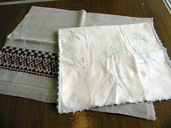 Antique Homespun Towel & Embroidered Runner by chalcroft on Etsy, $12.00