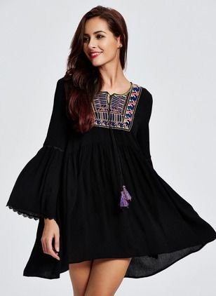 Cotton Long Sleeve Above Knee Casual Dresses