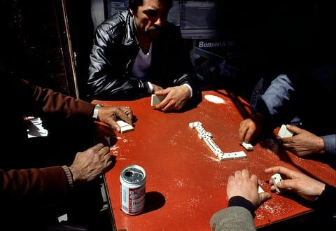 Men playing dominoes