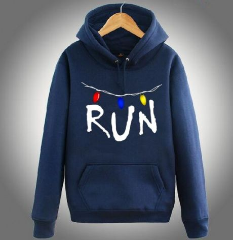 Plus size Stranger Things hoodie for men run printed fleece hooded sweatshirts