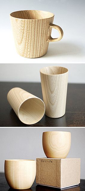 Gorgeous Cara and Kami wooden cup series is hand-crafted by Hidetoshi Takahashi in Japan. Made from Castor Aralia wood and Japanese Linden wood with a food-safe polyurethane coating inside. Available at Merchand No. 4.