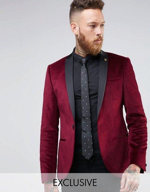 Noose & Monkey | Noose & Monkey Super Skinny Blazer In Velvet with Contrast Collar