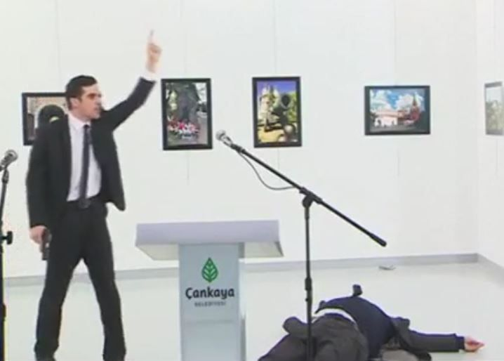 Russian Ambassador to Turkey, Andrey Karlov, Shot and Killed by Gunman in Ankara. Karlov was shot while delivering a speech at a photo exhibition. The gunman is believed to have been an Islamist who was motivated by Russia's military intervention in Syria
