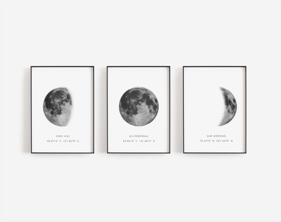 Birthday gift, Moon print template, Moon phase print, Personalized moon print, Coordinates, Full moon poster, Moon photography, Wedding gift