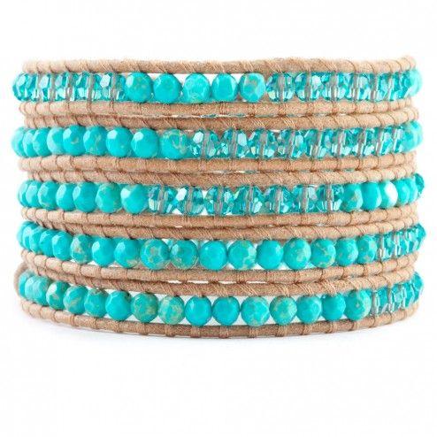 Chan Luu Beige Leather Turquoise & Crystal Wrap Bracelet