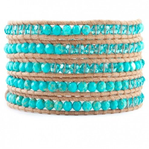 Chan Luu Beige Leather Turquoise & Crystal Wrap Bracelet