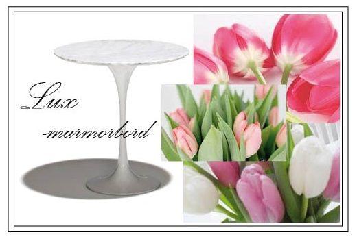 Lux - bord med vitmelerad marmorskiva och underrede i vitlackat stål, finns även i svart.  Tips! Dekorera bordet med en glasvas & rosa tulpaner för en modern och vårfräsch look.  http://www.barstolar.nu/art/soffbord-smabord/lux-bord