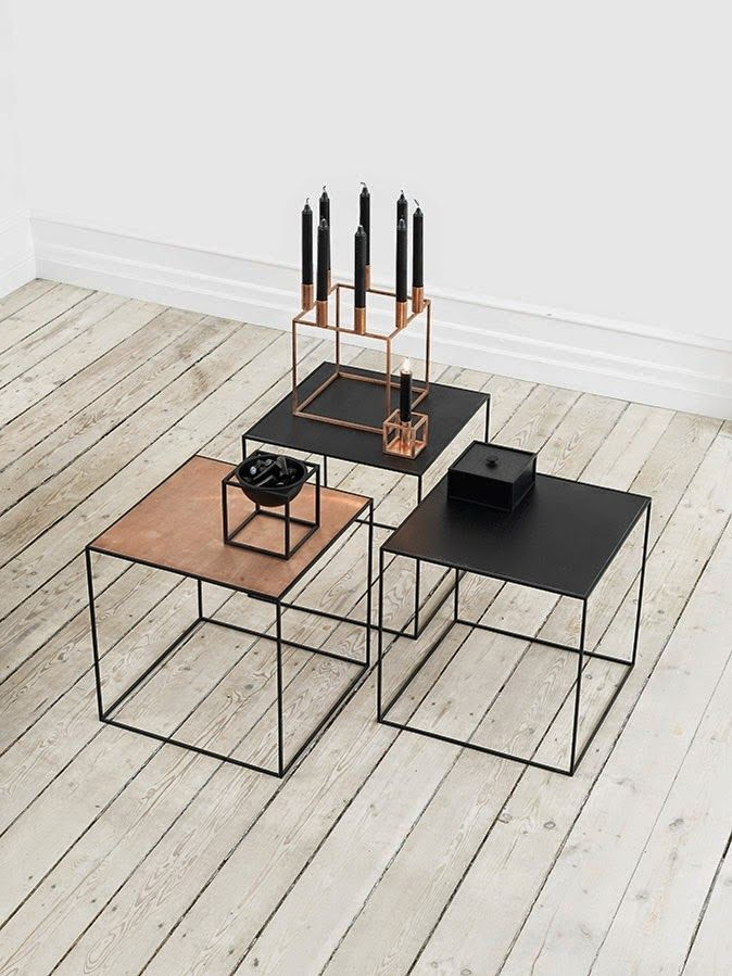 Scandinavisch design in huis: de Twin tables en Kubus Collectie in koperen uitvoering. #scandinavisch #design