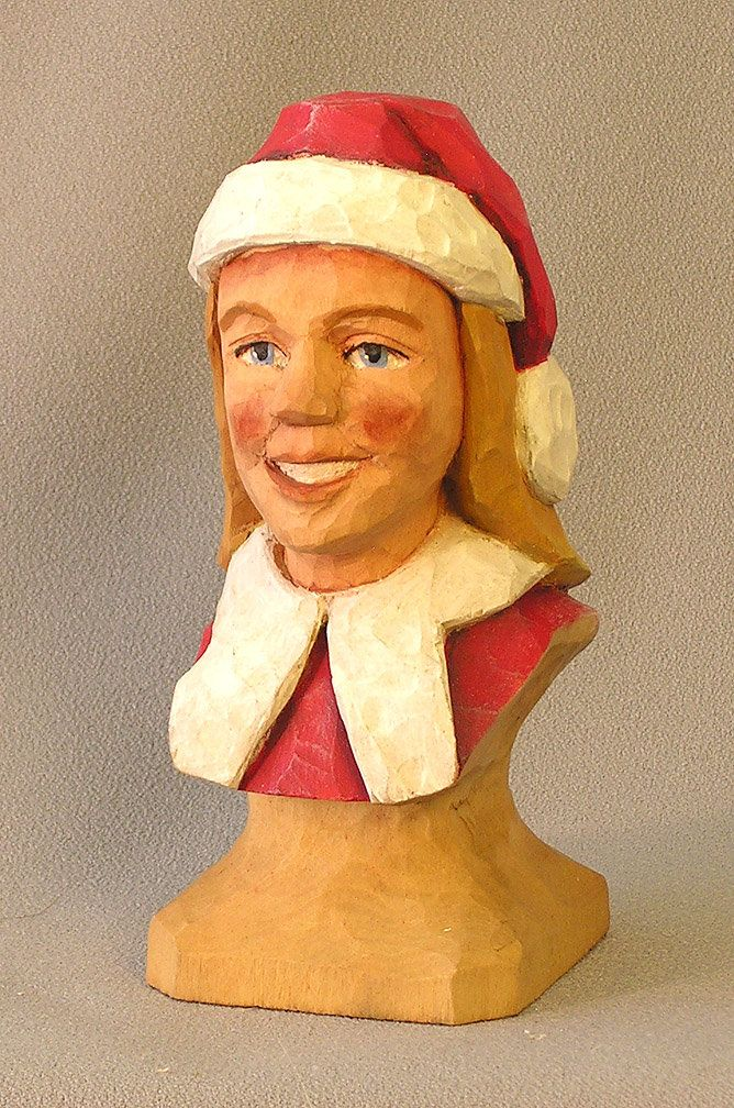 Mrs. Claus Bust. Hand carved in basswood by Russell Scott - ScottCarvings.com Female Human Figure by ScottCarvings on Etsy